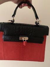 Theresa Phyton Leather Shoulder Handbag Red