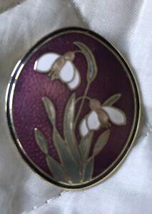 vintage cloisonne enamel brooch -snowdrop design