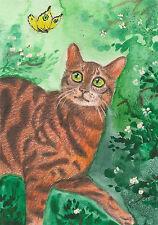 5x7 Print Of Painting Ryta Whimsical Art Bengal Cat Garden Folk Tabby Flowers