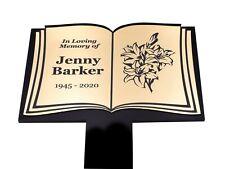 Abierto Libro Forma Imagen Personalizado Memorial - Oro, Plata, Cobre