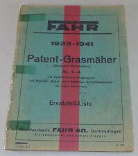 Teilekatalog Fahr Patent Grasmäher Nr. 1-4 Modelle 1933-1941