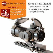 M3 Airsoft Red Dot Sight/1x35 lumineux rouge + vert dot/Weaver Rail Montage