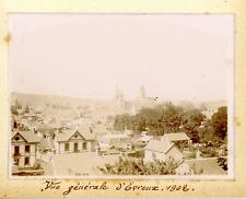 France, Normandie, Vue générale d'Evreux 1902, Vintage citrate print Vintag