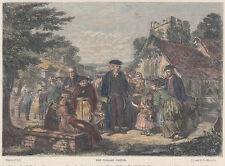 Il Pastore del villaggio xilografia acquarellata fine 800