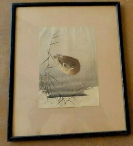 FRAMED ANTIQUE JAPANESE WOODBLOCK...BEAUTIFUL BIRD BY THE WATER OHARA KOSON