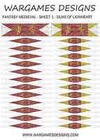 28mm Flags - Fantasy Medieval - Sheet 1 - Lion Rampant, FOG, DBA, Hail Caesar
