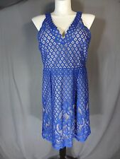 Adrianna Papell V-neck Size 12 Sleeveless Fit and Flare Dress blue/nude