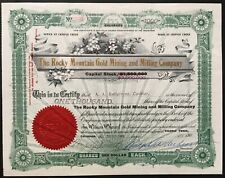ROCKY MOUNTAIN GOLD MINING & MILLING CO Stock 1905. Cripple Creek, Colorado. VF+