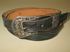 Vtg EUC black western belt with sterling silver buckle inlaid mother of pearl