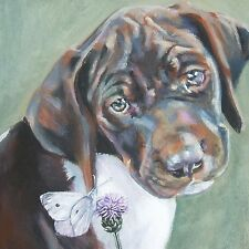 """German Shorthaired Pointer dog art canvas PRINT of lashepard painting gsp 8x8"""""""