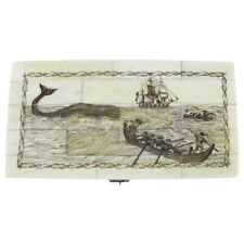 Fake Reproduction Etched Scrimshaw Bone Art Whaling Ship Jewelry Box Whale Chest
