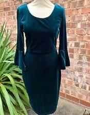 Green Velvet Dress UK Size 10. US 6. Wiggle Dress Bell Shaped Sleeves