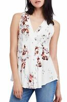 Free People Women's Ivory Floral Print Blouse Top Size Medium