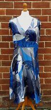 BETTY JACKSON Black Collection Blue Grey Sleeveless Dress Size UK 14 Silk Blend