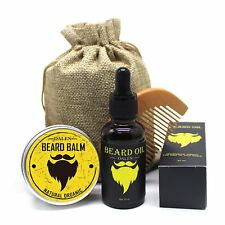 Beard & Mustache Care Kit for Men Ideal Styling - Comb, Natural Oil, Balm, Bag