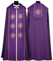 "Purple Gothic Cope with stole ""Jerusalem Crosses"" K009-F Vestment Capa pluvial"