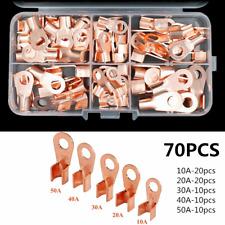 70Pcs Open Auto Cable Copper Lugs OT 10/20/30/40/50A Wire Connectors Terminals
