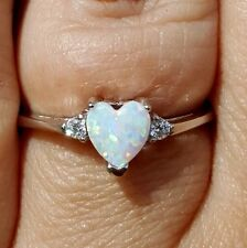 .925 Sterling Silver ring CZ Opal Heart size 3-12 Kids Midi White Ladies New