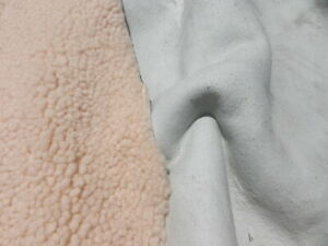 sheepskin shearling leather hide Rose Cream Tight curly hair w/white suede back