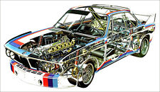 BMW 3.0 CSL Rally Cutout XXL 1 Piece 1 Meter Wide Glossy Poster Art Print!