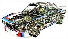 BMW 3.0 CSL Rally Cutout XXL 1 Piece 1 Meter Wide Glossy Poster Art Print!