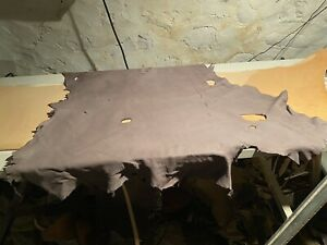 Gray Deer Leather Hide. Deer Hair Off, Suede/#3 Grain