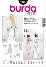 BURDA 7112 VTG RETRO 60's BRIDAL WEDDING EVENING DRESS SEWING PATTERN SZ 8-18