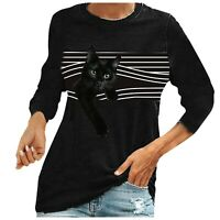 Women Short Sleeve Black Cat T Shirt Tee Loose Summer Crew Neck Tops Blouse