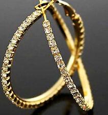 18K GOLD PLATED RHINESTONE CRYSTAL LARGE HOOP EARRINGS 40MM