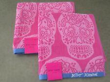 Betsey Johnson SUGAR SKULLS Large Bath Towels 2 Pc Set Pinks & Purple