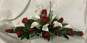 artificial wedding flowers top table decoration dark red roses & Cala liys