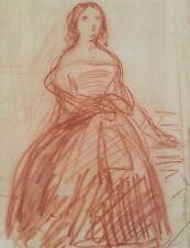 Félix BARRIAS.1822-1907.Femme en pied.Sanguine.18x12.Cachet.Cadre