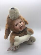 Geppeddo Cuddle Kids 2003 Porcelain Doll Hunter Dog plush body w/ bone & collar