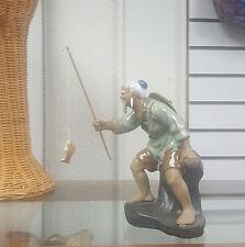 Collectible Porcelain Chinese Fishing Man Fishing Pole figurine Fishpole