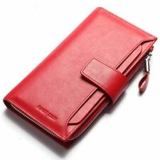 Red Cow Leather Fashionable Long Wallet Clutch Organizer Zipper Secure
