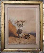 Tableau Aquarelle vers 1850 Jeune fille au fagot et au chien signé Forest Italie