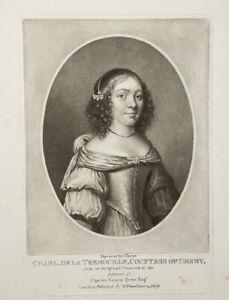 Antique Mezzotint Portrait Miniature Print, Countess Of Derby, C Turner 1810