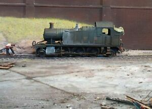 GWR Small Prairie Tank locomotive, heavily rusted and weathered. Ref E