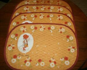 4 Vintage Holly Hobbie Quilted Fabric Placemats Let Love Flower Floral Prairie