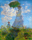 "CLAUDE MONET promenade woman with parasol~ *FRAMED* CANVAS ART 16""X 12"""
