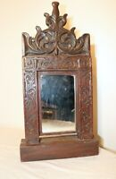 quality 19th century antique ornate hand carved wood table vanity mirror stand