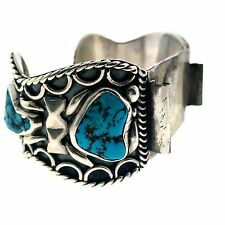 Navajo Sterling Silver Wire Wrap Turquoise Watch Cuff Bracelet