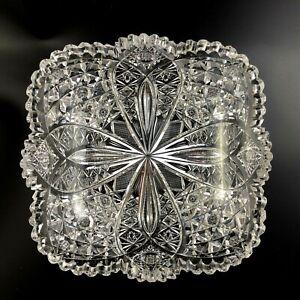 "Antique HAWKES Cut Glass ABP Brilliant 8 3/4"" Square Bowl - Signed"