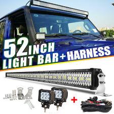 """52"""" 3950W Spot Flood Combo LED Work Light Bar + 2x 4"""" Pods For Jeep Wrangler JK"""