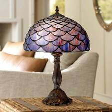 """Tiffany Style Accent Table Lamp 18"""" Deep Brown Blue Shell Art Glass for Bedroom"""