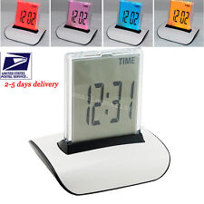 USA* 7 LED Color Changing Digital LCD Thermometer Calendar Alarm Clock Time