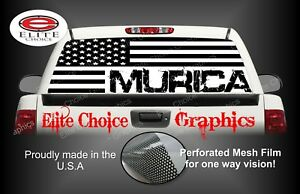 Murica White America Flag 2 Rear Window Graphic Decal Sticker Truck Car SUV