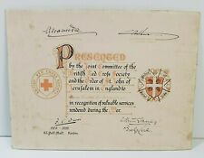 More details for ww1 certificate violet cranshaw services to wounded red cross st john vad