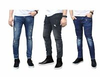 Mens Ripped Skinny Stretch Jeans Distressed Biker Slimfit Denim Padded Frayed