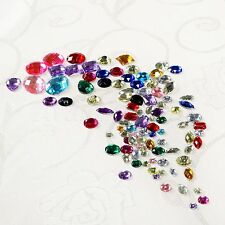 100 Acrylic Sewing Rhinestone Assorted Shape Beads Craft Flatback Gems Décor